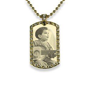 Gold Plate Small Portrait Diamante Photo Pendant