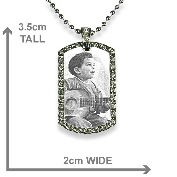Rhodium Plate Small Portrait Diamante Photo Pendant