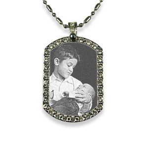 Rhodium Plate Small Wide Diamante Portrait Photo Pendant