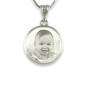 Deluxe bevelled round 925 silver photo pendant