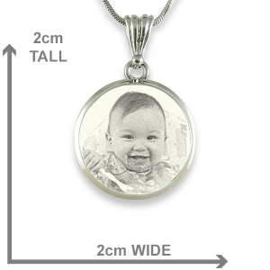 dimensions deluxe bevelled round 925 silver photo pendant