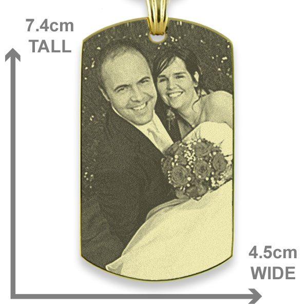 Gold Plate XL Portrait Medallion Photo Pendant Dimensions