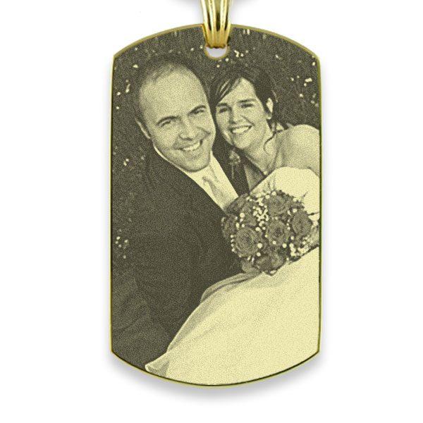 Gold Plate XL Portrait Medallion Photo Pendant
