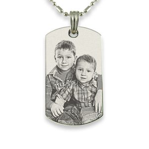Large Stainless Steel ID-Tag Photo Pendant