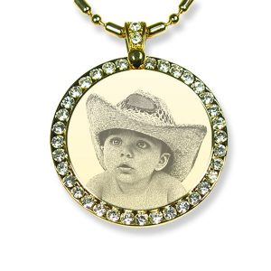 Large Round Gold Plate Diamante Photo Pendant