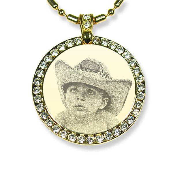 Gold Plate Large Round Diamante Photo Pendant
