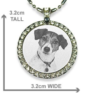 Rhodium Plate Large Round Diamante Photo Pendant