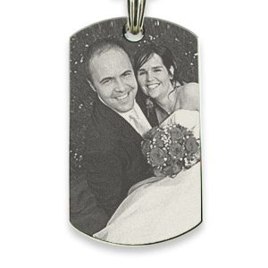 Rhodium Plate XL Portrait Medallion Photo Pendant