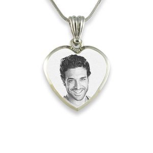 Rhodium Plate Deluxe Bevelled Small Heart Photo Pendant