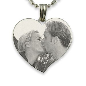 Titanium Large Curved Heart Photo Pendant