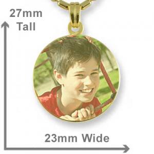 Gold Plate Small Round Colour Photo Pendant