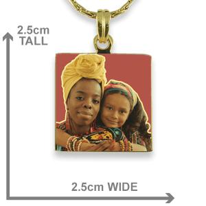 Gold Plate Small Square Colour Photo Pendant Dimensions