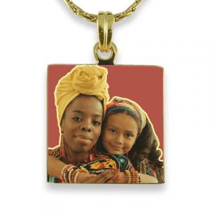 Gold Plate Small Square Colour Photo Pendant