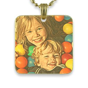 Gold Plate Large Square – Colour Photo Pendant