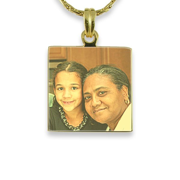 Gold Plated - Small Square Colour Photo Pendant