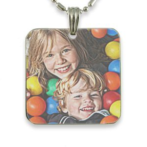 Rhodium Plate Large Square – Colour Photo Pendant