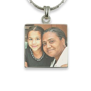 Rhodium Plate - Square Colour Photo Pendant