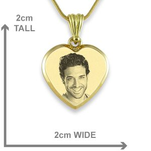 Gold Plate Deluxe Bevelled Small Heart Photo Pendant Dimensions