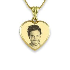 Gold Plate Deluxe Bevelled Small Heart Photo Pendant