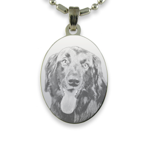 Rhodium Plate Portrait Oval Dog Keepsake