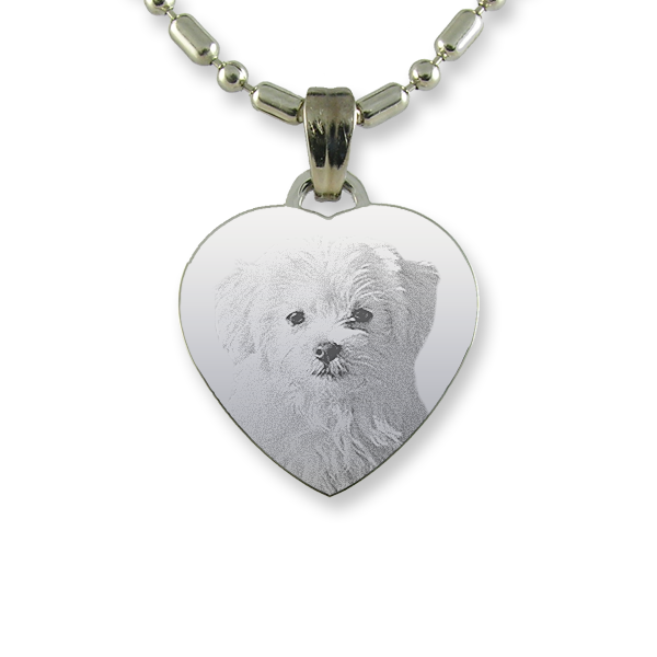 Rhodium Plate Small Heart Dog Keepsake