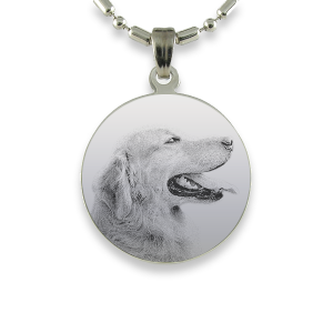 Rhodium Plate Medium Round Dog Keepsake