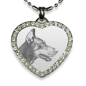 Rhodium Plate Medium Heart Diamante Dog Keepsake