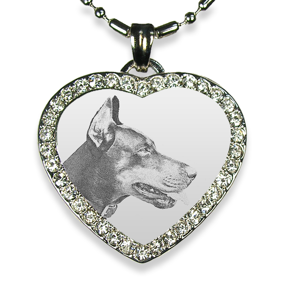 Rhodium Plate Medium Heart Diamante Dog Keepsake