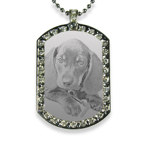 Rhodium Plate Wide Portrait Diamante Dog Keepsake