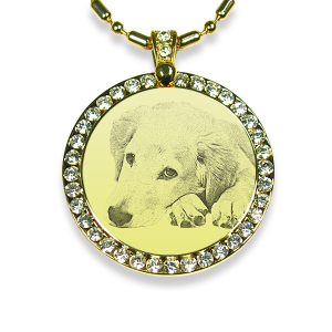 Gold Plate Large Round Diamante Dog Keepsake