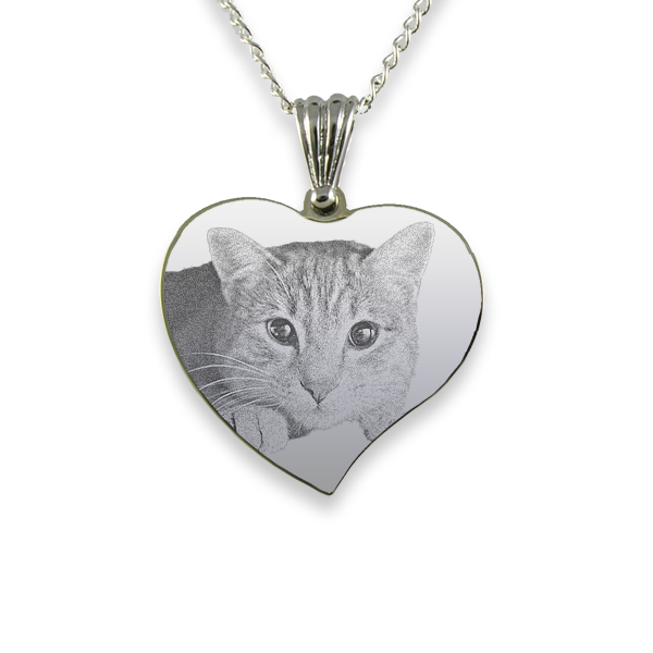 Rhodium Plate Medium Curved Heart Cat Keepsake