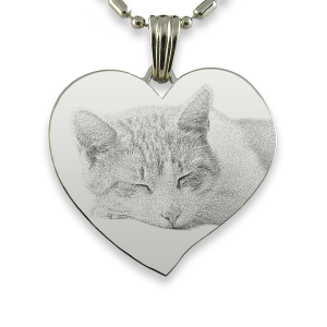 Titanium Plate Large Curved Heart Cat Keepsake