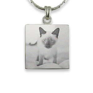 Rhodium Plate Square Cat Keepsake