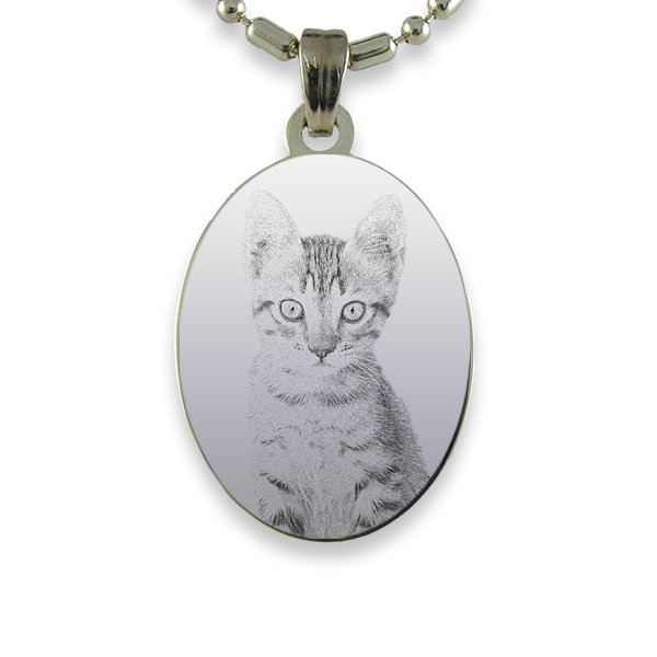 Rhodium Plate Portrait Oval Cat Keepsake