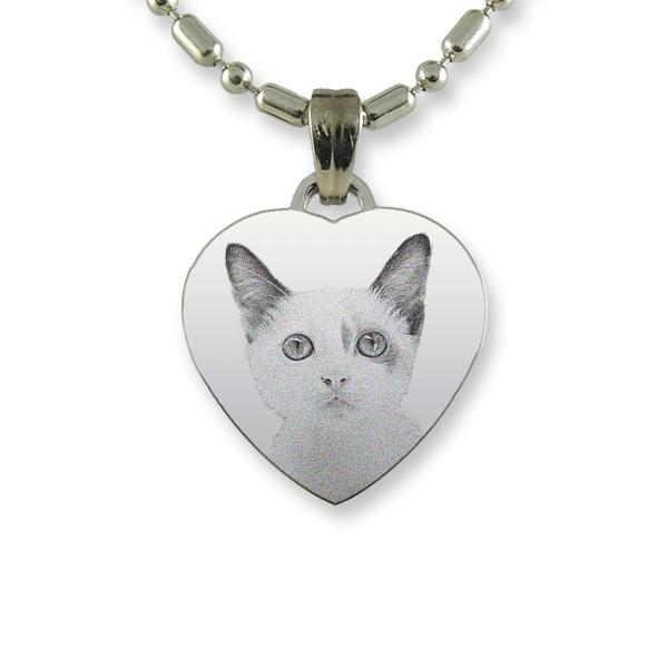 Rhodium Plate Small Heart Cat Keepsake | Photo Pendant UK