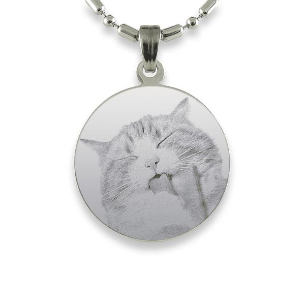 Rhodium Plate Round Cat Keepsake | Photo Pendant UK