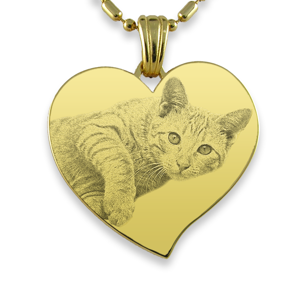 Gold Plate Large Curved Heart | Photo Pendant UK