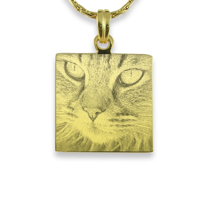 Gold Plated Square Cat Keepsake | Photo Pendant UK