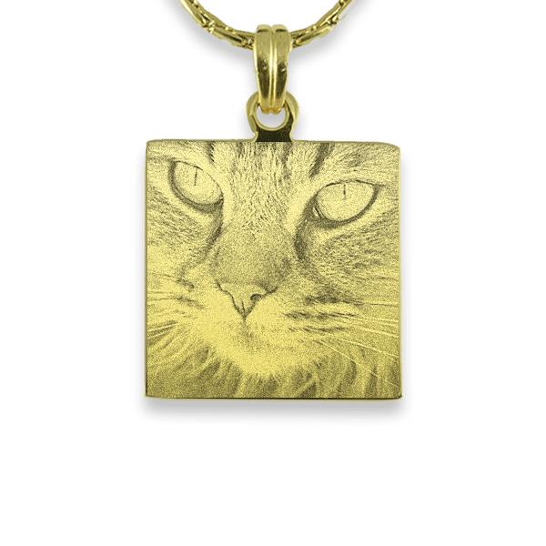 Gold Plated Square Cat Keepsake | Photo Pendant UK