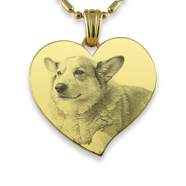 Gold Plate Large Curved Heart Dog Keepsake
