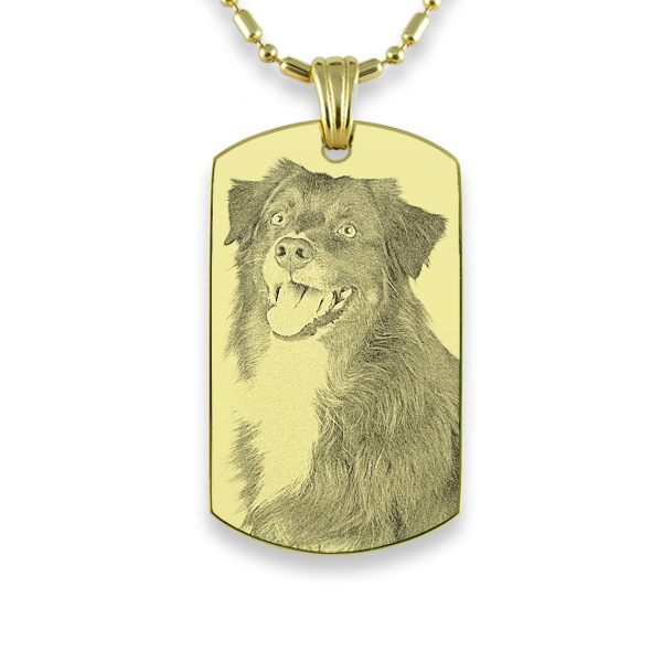 Gold Plate Medium Portrait Dog Keepsake