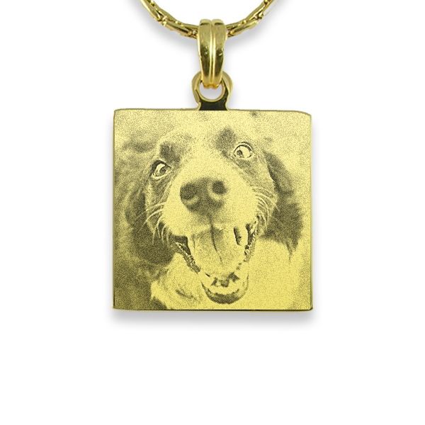 Gold Plate Square Dog Keepsake