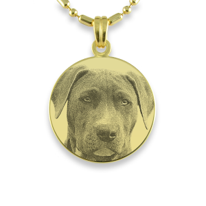 Gold Plate Medium Round Dog Keepsake