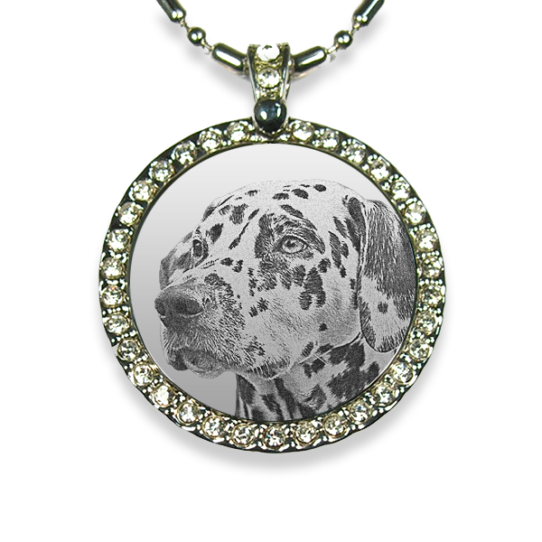 Rhodium Plate Large Round Diamante Dog Keepsake