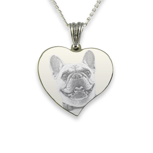 Rhodium Plate Medium Curved Heart Dog Keepsake