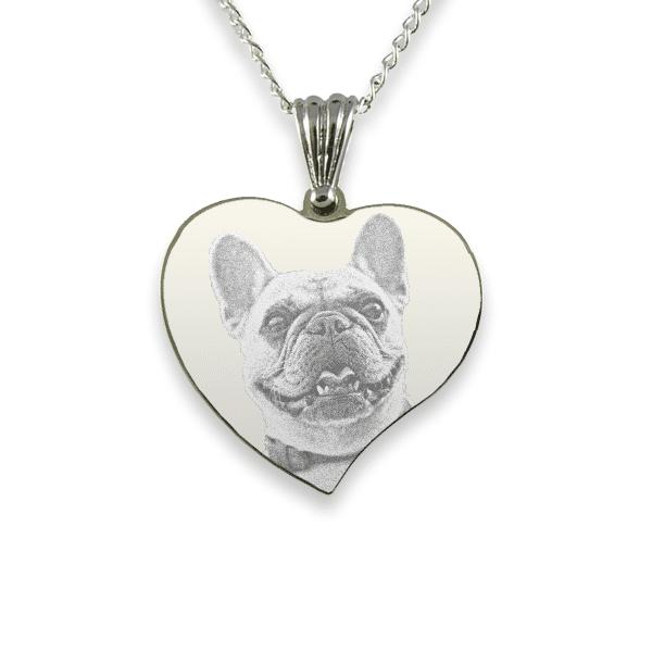 Rhodium Plate Medium Curved Heart Dog Keepsake