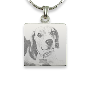 Rhodium Plate Square Dog Keepsake