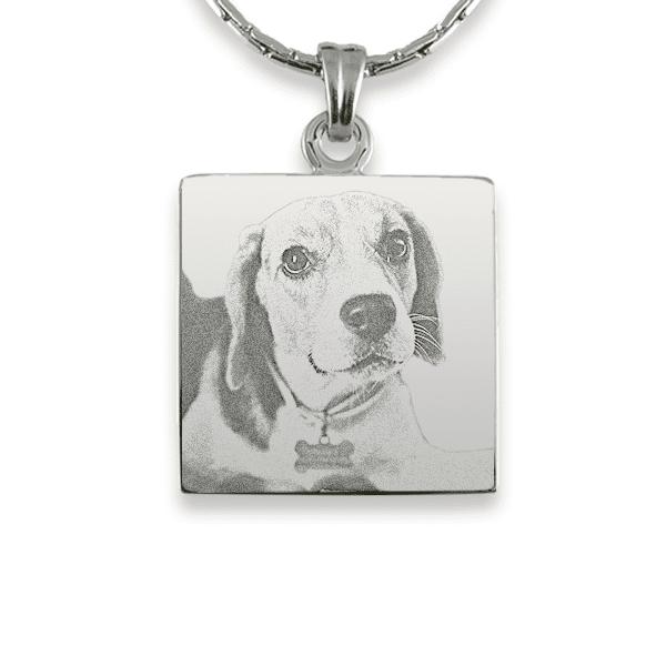 Rhodium Plate Square Dog Keepsake