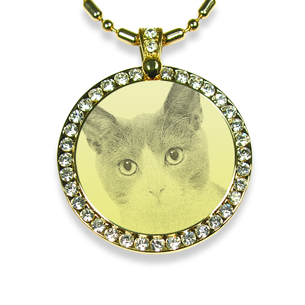 Gold Plate Large Round Diamante Cat Keepsake