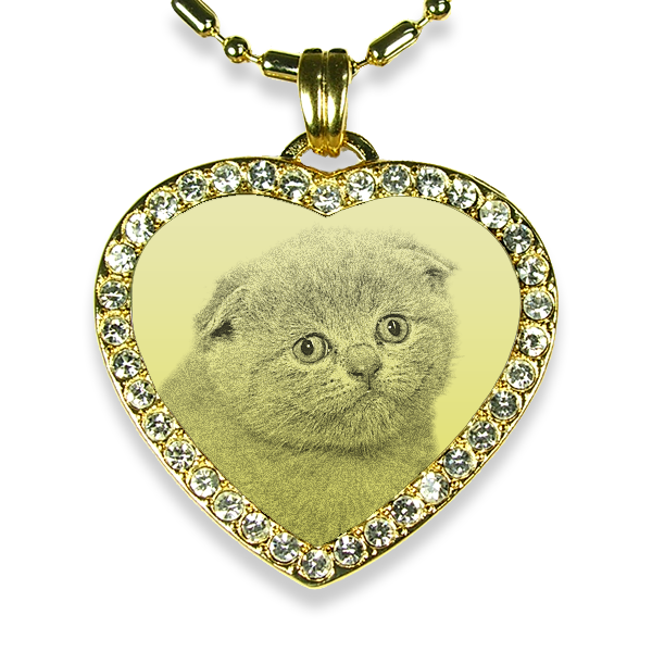Gold Plate Heartshaped Diamante Cat Keepsake